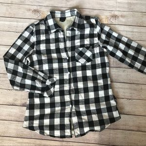 Sweet Claire Black & White Plaid Flannel Shirt
